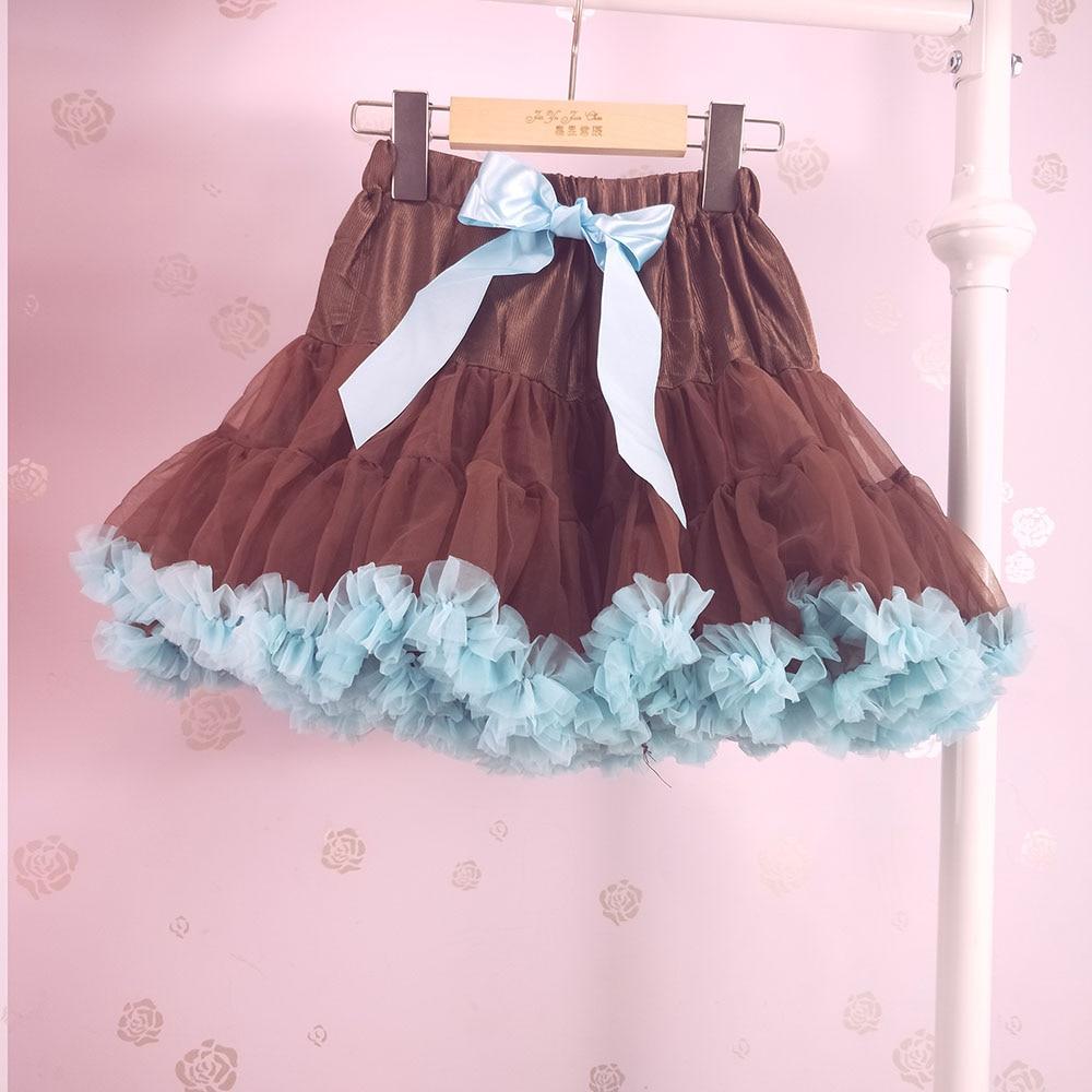 Детская юбка-пачка для девочек; пышная юбка-американка; распродажа - Цвет: Коричневый