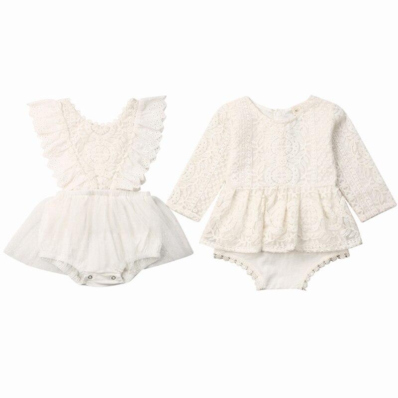 Verão Bebê Recém-nascido Roupa Das Meninas Rendas Babados Romper Tutu Vestido Roupas Vestido