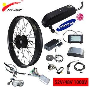 48v1000w kit de conversão bicicleta elétrica 26 hub hub cubo traseiro roda do motor com bateria samsung lg pneu gordo bicicleta neve ebike e bicicleta