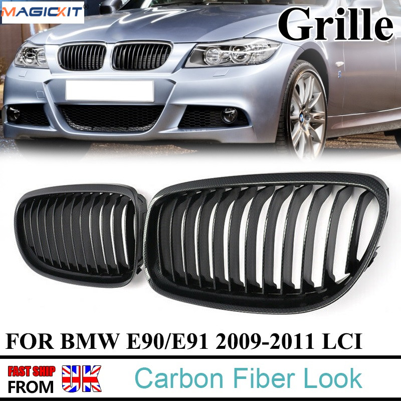 MagicKit 1 Pair Carbon Fiber Look Front Kidney Sport Grilles Grille For BMW E90/E91 Sedan 323i 328i 335i LCI 2008-2011 image