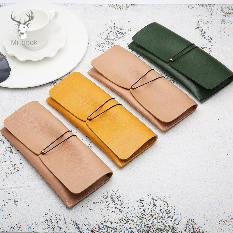 Soft Pu Leather Pencil Case Office Stationery School Supplies High Capacity PU Material Glasses Case Glass Storage Carry Bag