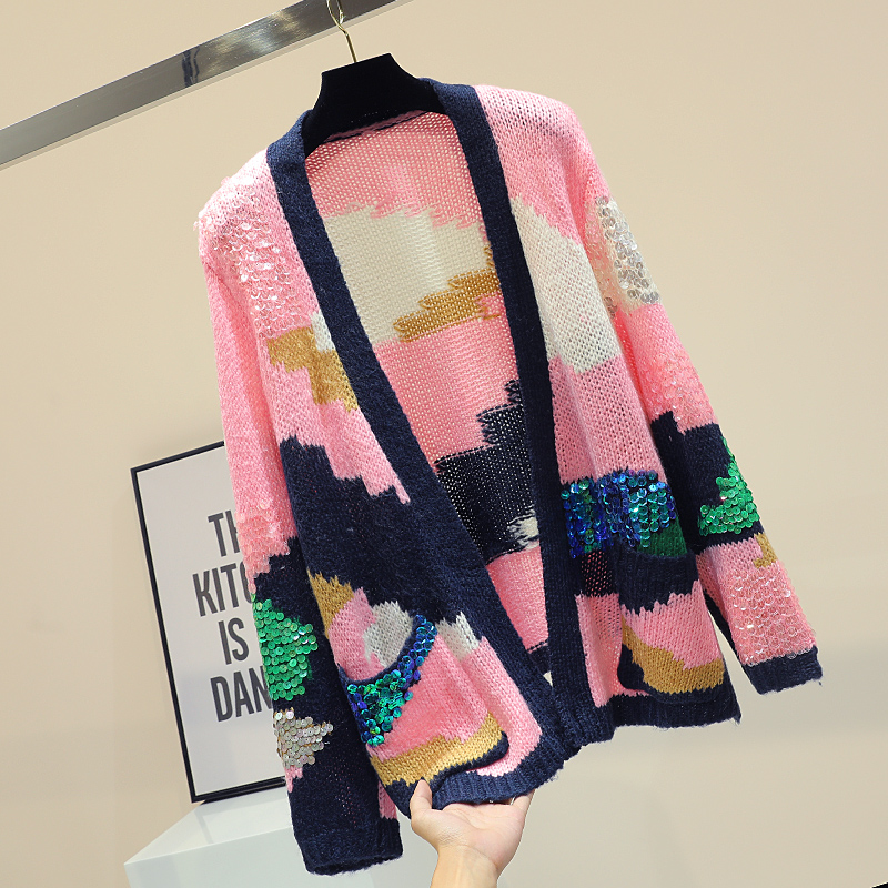 MUMUZI Sequins Sweater Women 2019 Autumn New Loose Long-sleeved Coats Sweater Pink Hit Color Cardigan Knitwear