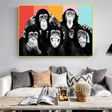 Modern Art Oil Painting Animals Five Gorilla Canvas Painting Abstract Painting Posters and Prints Home Living Room Decoration Pa