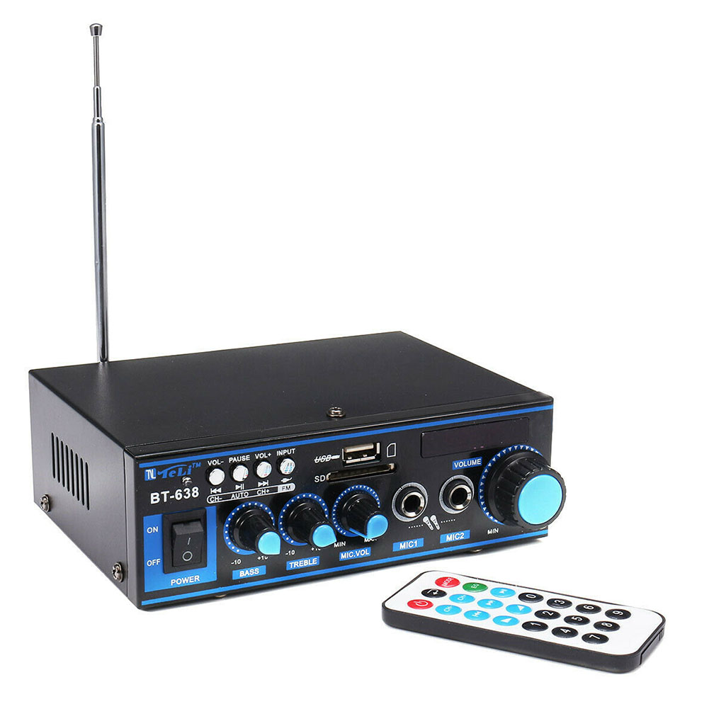 Stereo With Remote Controller Power Amplifier USB HIFI Radio Digital Built in Bluetooth Car Audio Home Music FM