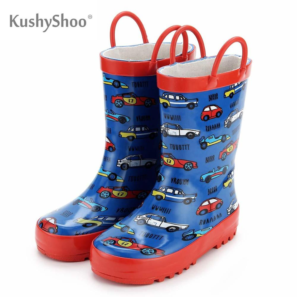 KushyShoo Rain Boots Kids Waterproof Rubber Colorful Cars Printed Footwear For Children Rainboots For Girls Boys Water Shoes
