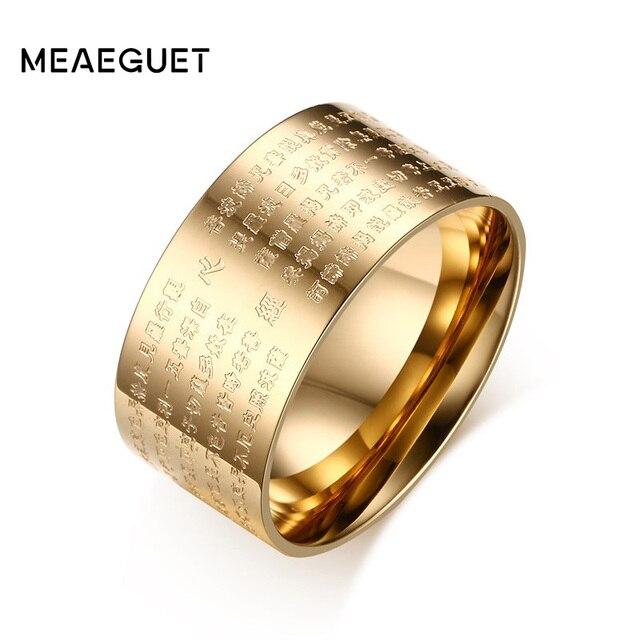 Meaeguet 10mm רחב בציר תפילה Bijoux טבעות לנשים גברים 316L נירוסטה 2 צבעים סיני כתבים בודהיסטים טבעת