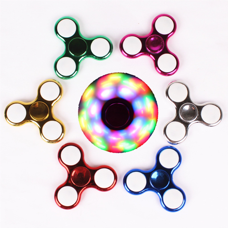 Fidget Spinner Tip Of The Finger Gyro  ABS Plastic  Three Gears With Lamp  Electroplating  Luminous  Finger Toy For Children