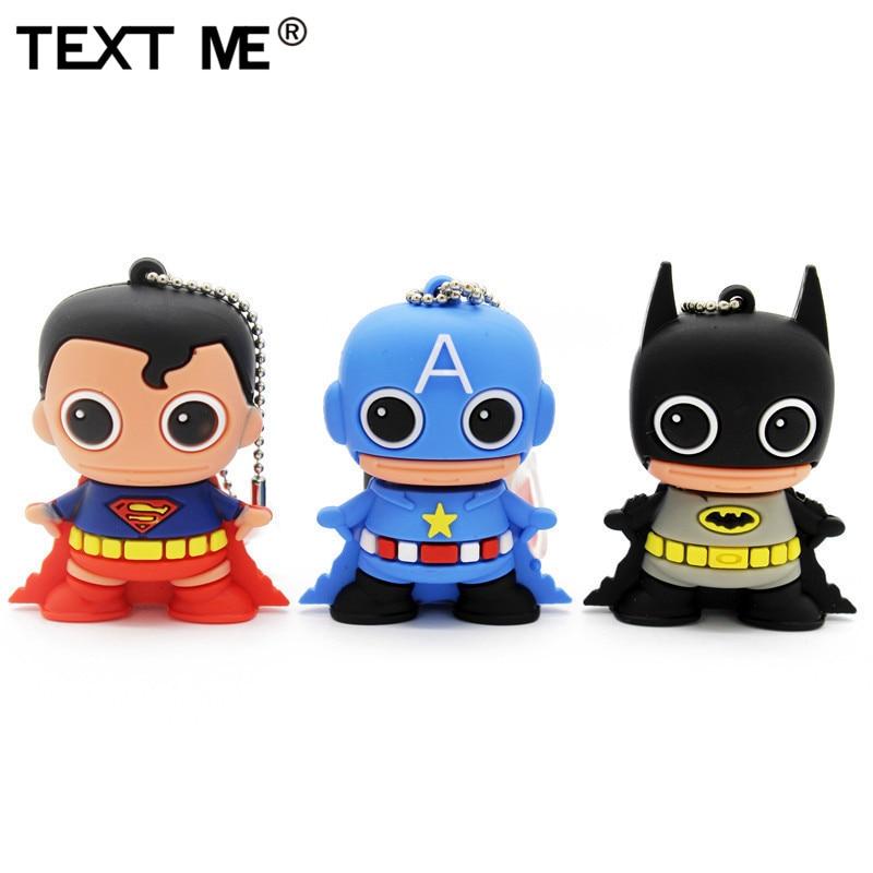 TEXT ME 64GB Cool New Style Batman Superman Capta Style  4GB 8GB 16GB 32GB Usb Flash Drive Usb 2.0  Pendrive