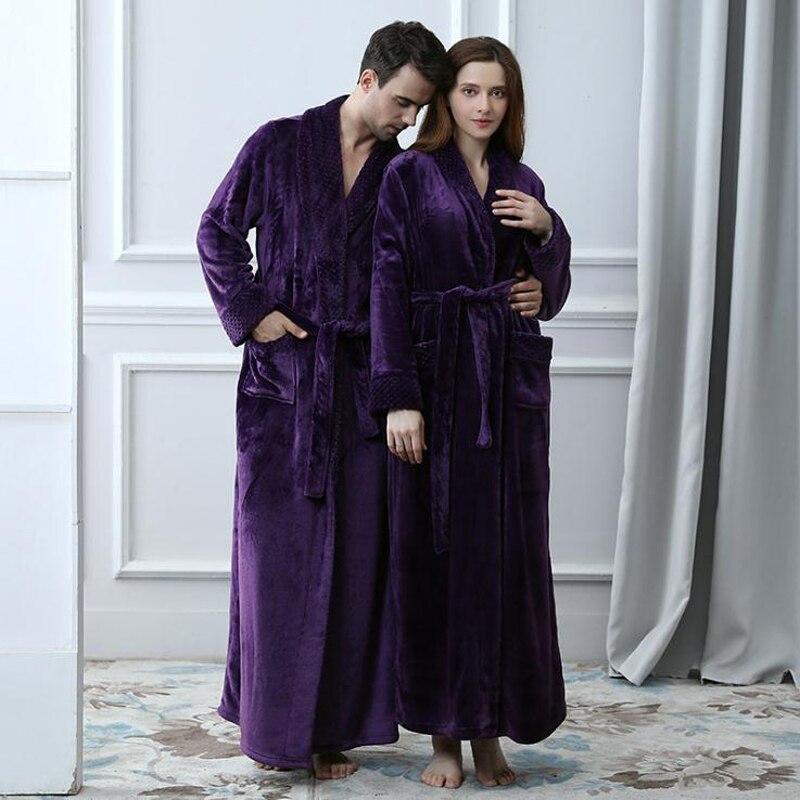 Schlafanzug Purple Sleepwear Lounges Couple Fall Winter Bathrobes  Men Homewear Pyjamas Warm Long Sleeve Autumn Men Long Robe