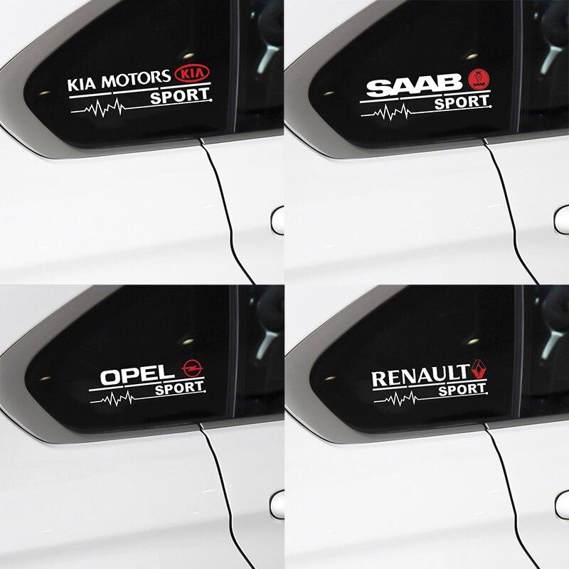 2pcs Car Decal Sticker Windows Door Decoration For Toyota BMW Audi Chevrolet Mitsubishi Kia Honda Fiat Sport Emblem Accessories