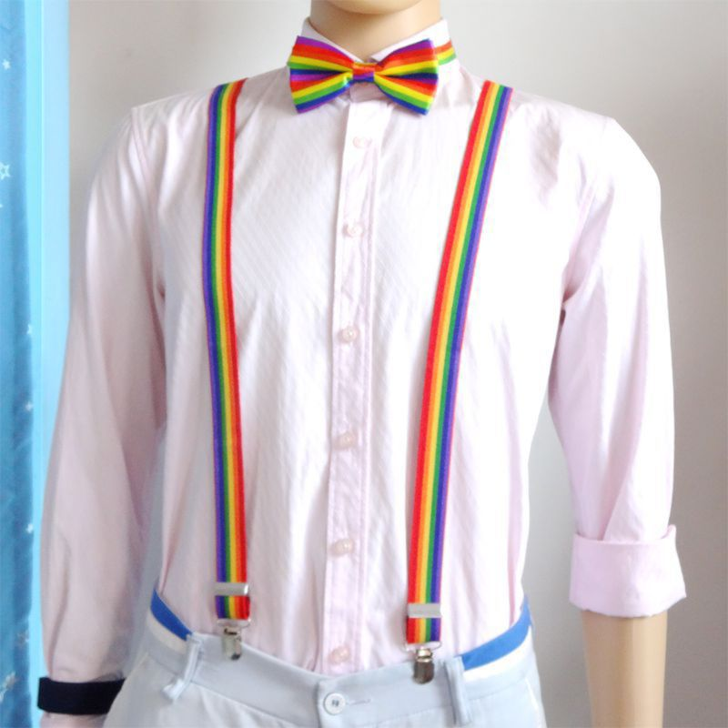 New Unisex Wide Adjustable Y-Back Suspenders Rainbow Colorful Striped Belt With Clip