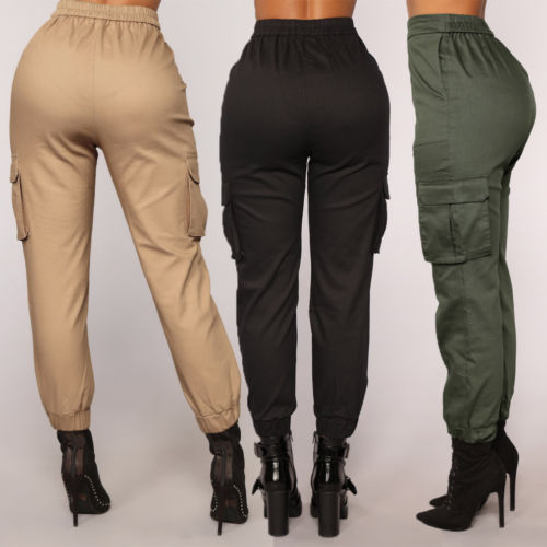 Spring Women Stretch Waist Pants 2020 Military Solid Casual Army Camouflage Camo Cargo Trousers Casual Pants