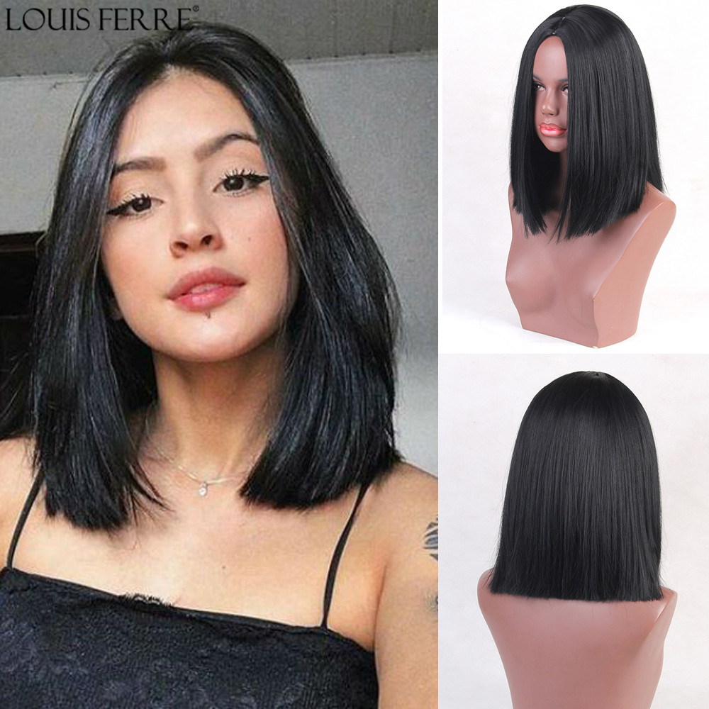 LOUIS FERRE Straight Black Medium Synthetic Wigs Middle Part Heat Resistant Hair For Black Women Cosplay Costume Party Wigs