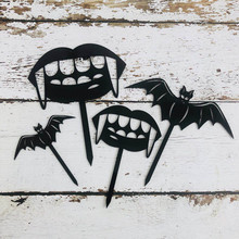 Cake Topper DIY Halloween Decoration Ghost Tooth Bat Acrylic Baking Card Cutout Party Funny Dress Up G
