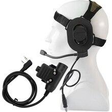 цена на Tactical headset Adjustable Harness Military Airsoft Paintball Hunting Sniper Bowman Elite II Headphones + U94 PTT Kenwood Plug