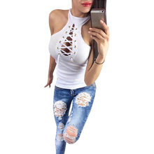 Fashion Sexy Women Blouse Knitted Hollow Out Sleeveless Solid Waist High Street Top Elastic Short Streetwear Blusa