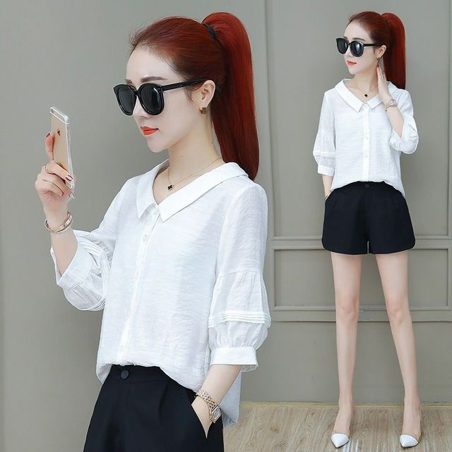 Fashion Women Spring Summer Style Blouses Lady Casual Shirt Short Sleeve Peter Pan Collar Women Clothes Blouses Tops DF3324 2