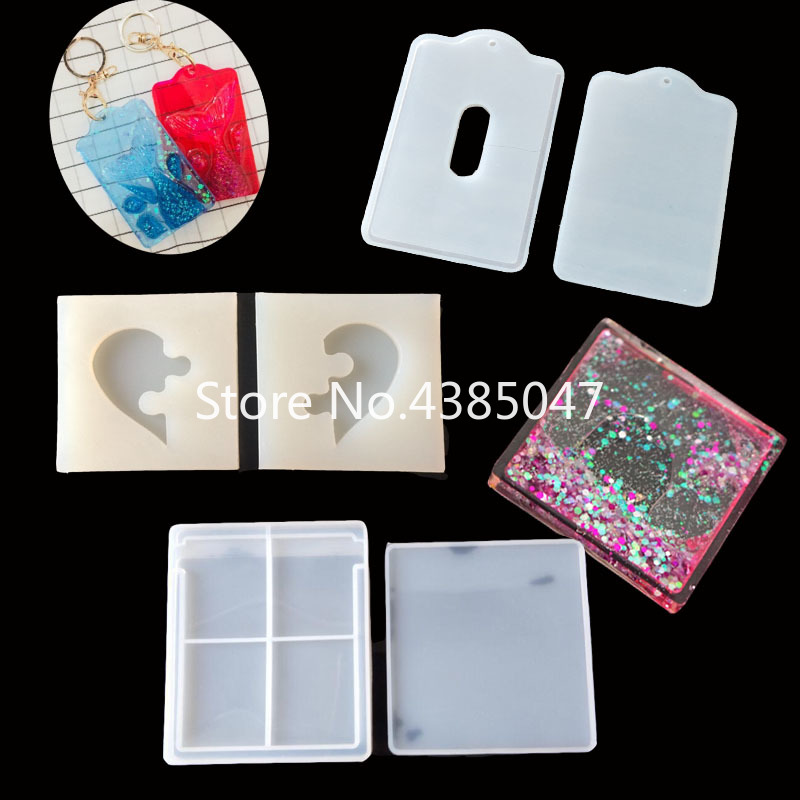 1PC Card Water Injection Mold Heart Puzzle Pendant DIY Silicone Dried Flower Jewelry Accessories Tools Equipments Resin Molds
