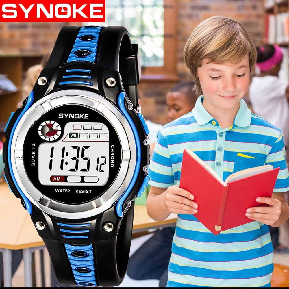 Unisex Girl And Boy Teenager Two-color Large Screen Student Children's Sports Life Waterproof Electronic Watch часы детские 2019