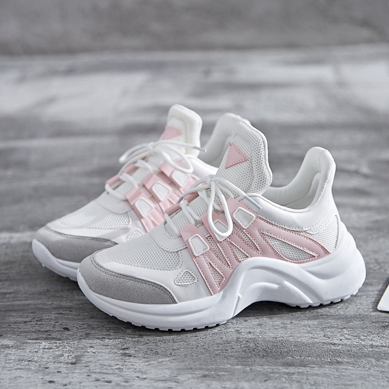 TEMOFON Women Chunky Sneakers Women Casual Vulcanize Shoes Casual Fashion White Ladies Shoes Plus Size Deportivas Mujer HVT602