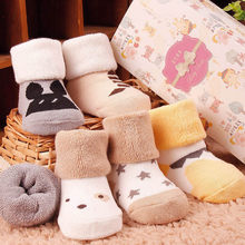 2019 Hot Sale Socks For Kids Print Cute Infant Winter Socks Toddler Baby Boys Girls Cartoon Animals Anti-Slip Knitted Warm Socks(China)