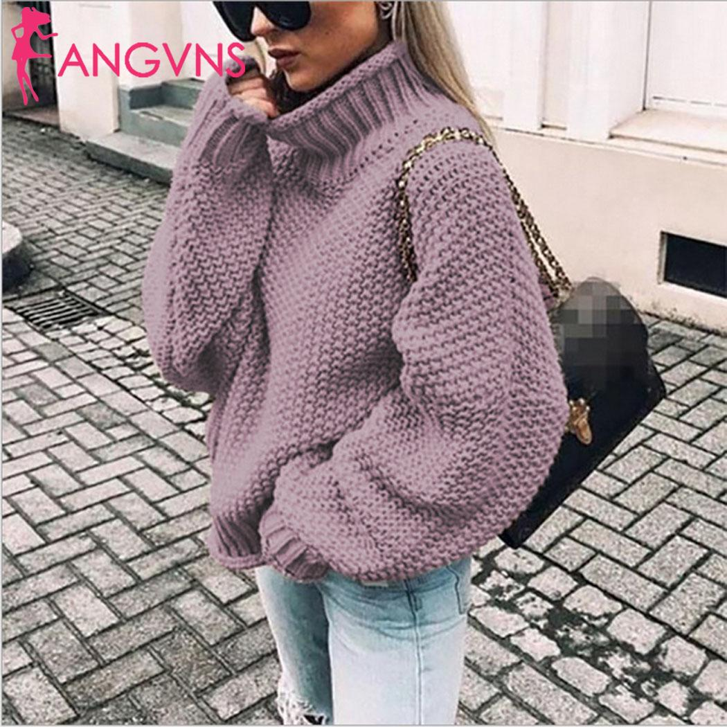 Women Fashion Turtleneck Long Sleeve Solid Winter Causal Casual Sweater
