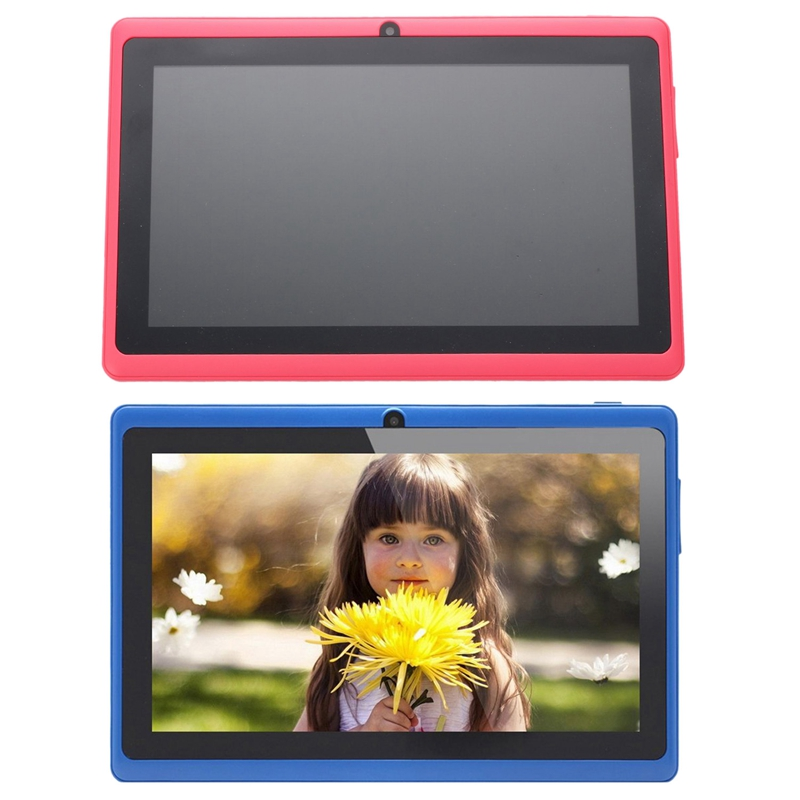 2 Pcs 7 Inch Android Google Tablet PC 4.2.2 8GB 512MB DDR3 Quad-Core Camera Capacitive Press Screen 1.5GHz WiFi , Pink With Blue