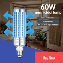 E27 60W UV Germicidal Lamp Led UVC Light Bulb 99% Antibacterial Rate Purifies The Air And Killing Bacteria For Air Kill Mites #