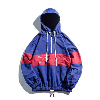 Block Patchwork Pullover Hoodie Men Jacket Coat Half Zipper Hooded Jackets Spring Autumn Fashion Casual Streetwear Clothes