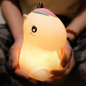 Image 1 - חד קרן LED לילה אור חיישן מגע צבעוני USB נטענת קריקטורה סיליקון שינה המיטה מנורת לילדים ילדים בייבי מתנה
