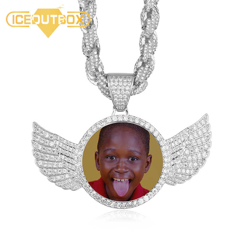 Gold Silver Custom Made Photo With Wings Medallions Necklace & Pendant 9mm Cubic Zircon Rope Chain For Men's Hip Hop Jewelry