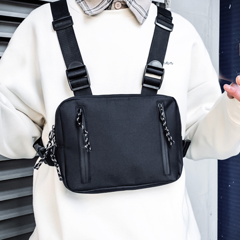 Fashion Chest Rig Bag For Men Waist Bag Hip Hop Streetwear Functional Tactical Chest Mobile Phone Bags Male Casual Fanny Pack