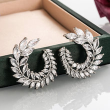 Huitan Gorgeous Big C Shape Stud Earrings for Women Dazzling Cubic Zirconia Party Aesthetic Accessories Female Statement Jewelry