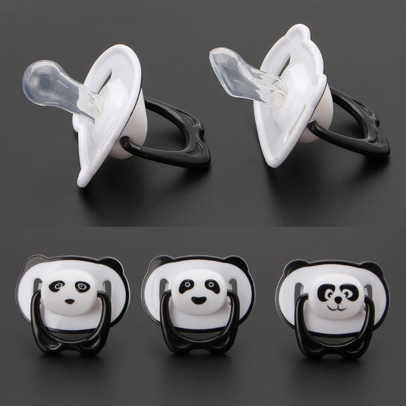 Cute Panda Nipple Dummy Pacifier Baby Food Grade PP Silicone Soother Toddler Orthodontic Nipples With Ring Teether Baby Pacifier
