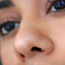 Huitan Neue Twist U Form Gefälschte Nase Ring für Frauen Faux Piercing Körper Schmuck Persönlichkeit Gefälschte Nase Lip Ringe 1 PC Nase Ring