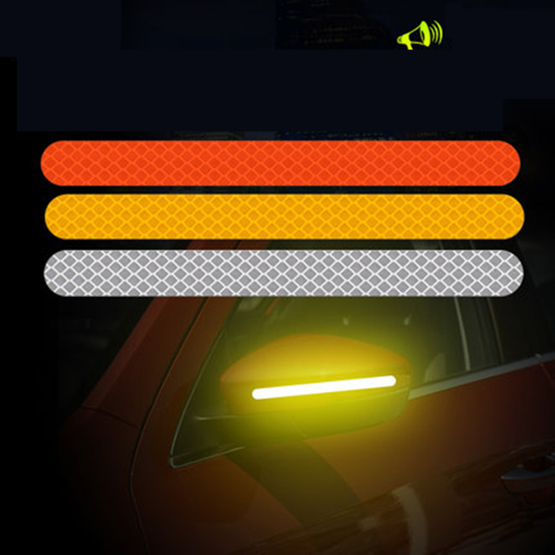 2Pcs Reflectante Car Stickers Reflector Rearview Mirror Reflective Tape Car Accessories Exterior Reflex Tape    Reflective Strip