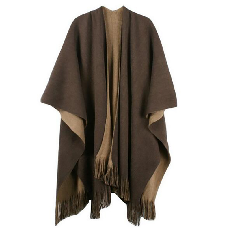 Oversize Deversible Frauen Winter Gestrickte Kaschmir Poncho Capes Schal Strickjacken Pullover Mantel Q6-32E image