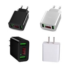 USB Phone Charger Universal 2 Ports Mobile LCD Digital Display Portable EU/US Plug
