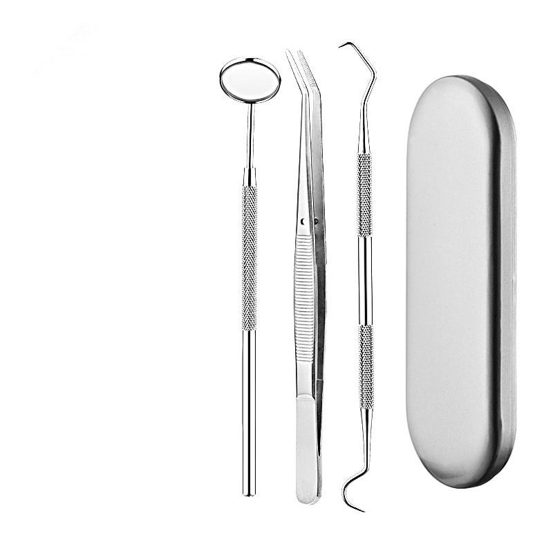 Dental Mirror Stainless Steel Dental Dentist Prepared Tool Set Probe Tooth  Kit Instrument Tweezer Hoe Sickle Scaler