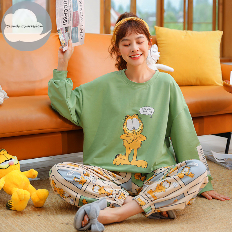 Winter Sleep Lounge Pajama Long Sleeve Top Long Pant Woman Pajama Set Cartoon Pyjamas Cotton Sleepwear