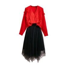 2019 Fall And Winter New Design Tassel Fresh V-Neck Red Sweater Joker Brim Gauze Bust Black Pleated Skirt Leisure Suits Women