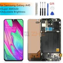 סופר AMOLED לסמסונג A40 LCD 2019 מגע מסך Digitizer עצרת לסמסונג A40 A405 LCD עם מסגרת תיקון חלקים
