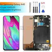 Super AMOLED do Samsung A40 LCD 2019 ekran dotykowy Digitizer montaż do Samsung A40 A405 LCD z ramą naprawa części