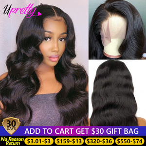 Upretty Body Wave Wig 4x4 Closure Wigs Pre Plucked 360 Lace Frontal Wig 180 250 Density Brazilian 28 30 Inch Lace Front Wigs