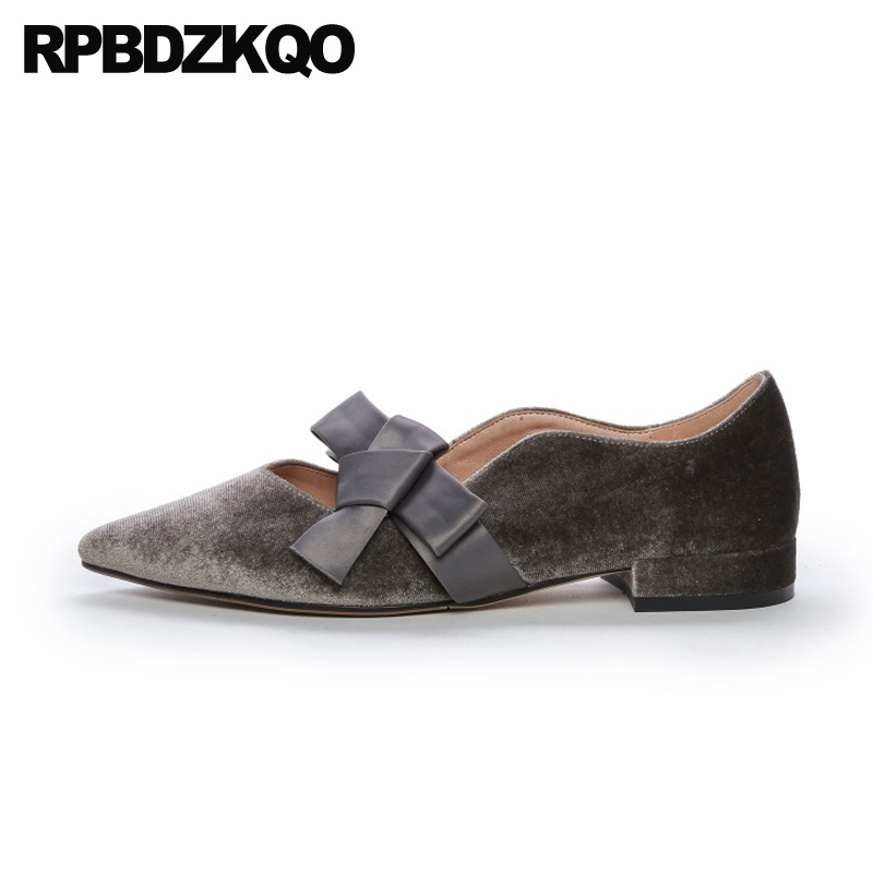 ladies gold flats gray pointed toe rubber sole bow designer shoes women luxury 2019 chinese china slip on velvet spring autumn