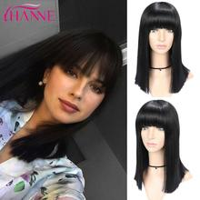 HANNE Medium Black Synthetic Wig With Bangs  Straight Wigs For Women High Temperature Fiber Natural African American Hair Wigs