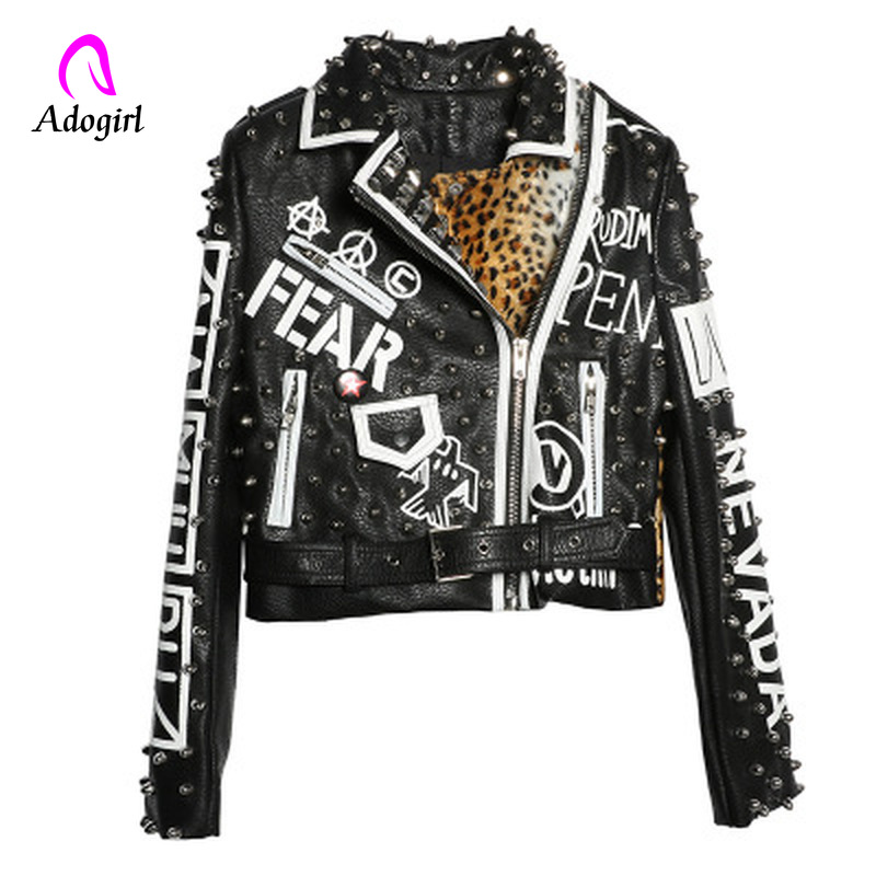 Studded Punk Style Motorcyle Coats 2019 Spring Leopard Leather Jacket Women Turn-down Collar Short Cropped Jackets Ladies