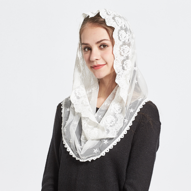 1PC New Fashion Female Ladies veil Tassel Shawls And Scarves Autumn Catholic Mantilla church Women Scarf
