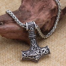 dropshipping 1pcs thors hammer mjolnir pendant necklace viking scandinavian norse with stainless steel chain
