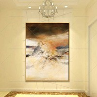 Canvas Dusk Sky Abstract Canvas Painting Living Room Restaurant Interior Decoration Picture Wall Art Hand Painted Oil Painting